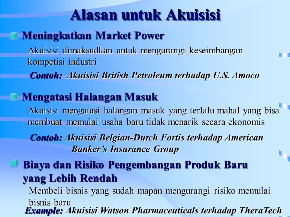 Alasan untuk Akuisisi Meningkatkan Market Power