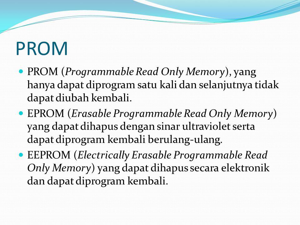 PROM PROM (Programmable Read Only Memory), yang hanya dapat diprogram satu kali dan selanjutnya tidak dapat diubah kembali.