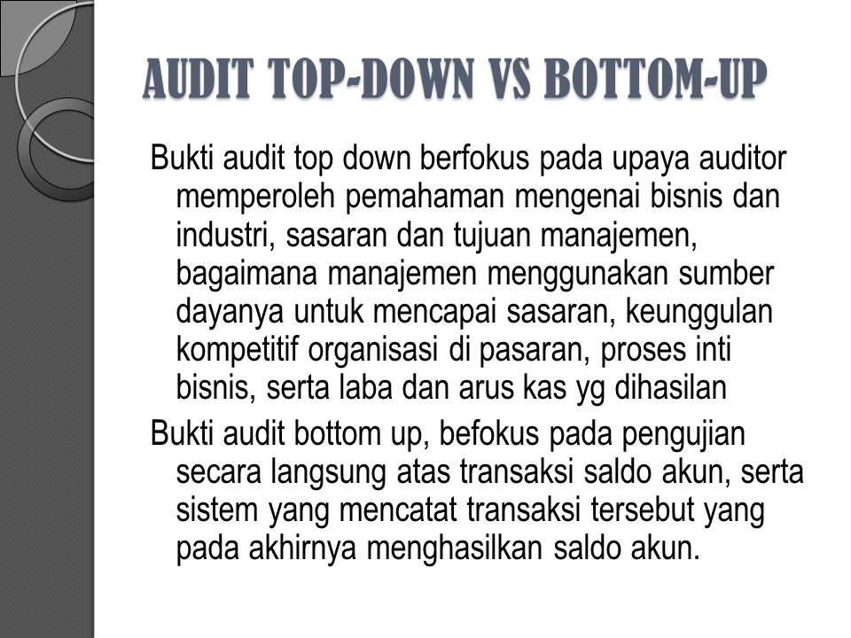 AUDIT TOP-DOWN VS BOTTOM-UP