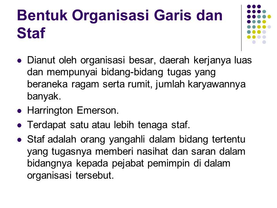 Bentuk Organisasi Garis dan Staf