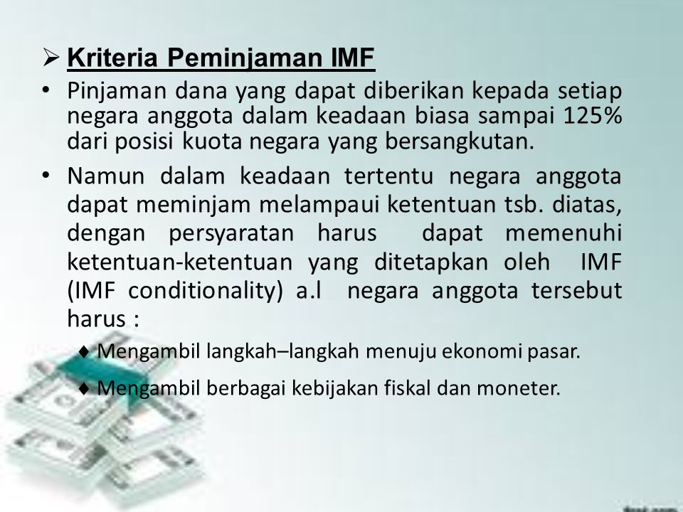 Kriteria Peminjaman IMF