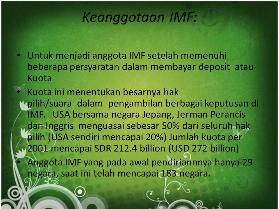Keanggotaan IMF: Untuk menjadi anggota IMF setelah memenuhi beberapa persyaratan dalam membayar deposit atau Kuota.