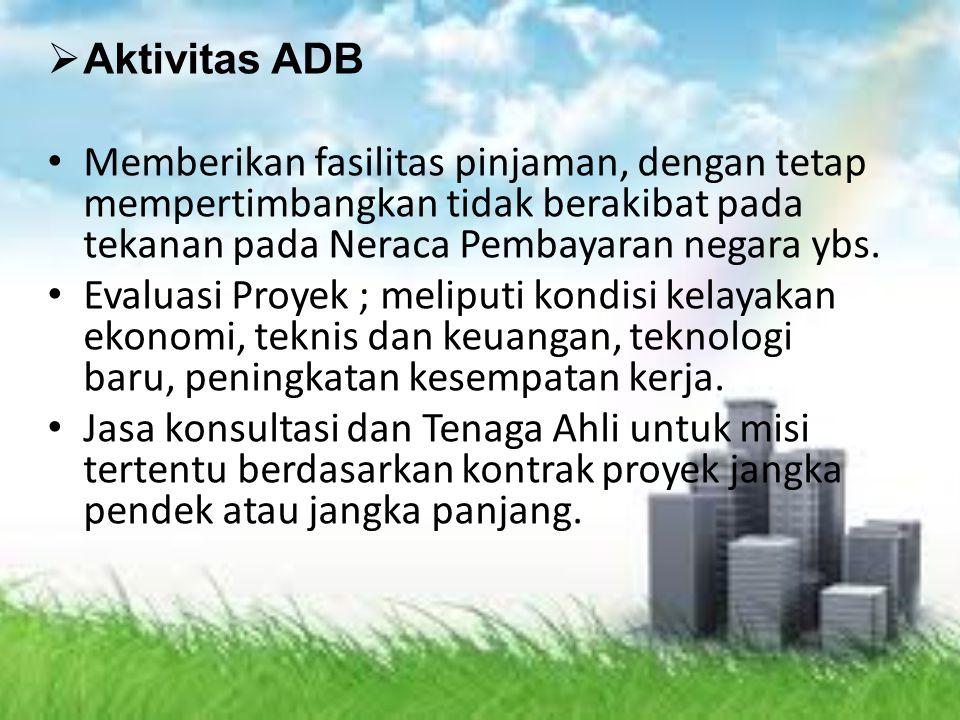 Aktivitas ADB Memberikan fasilitas pinjaman, dengan tetap mempertimbangkan tidak berakibat pada tekanan pada Neraca Pembayaran negara ybs.