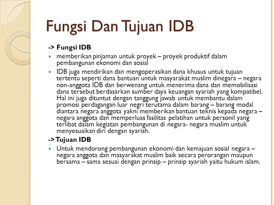 Fungsi Dan Tujuan IDB -> Fungsi IDB