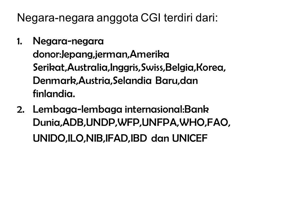 Negara-negara anggota CGI terdiri dari: