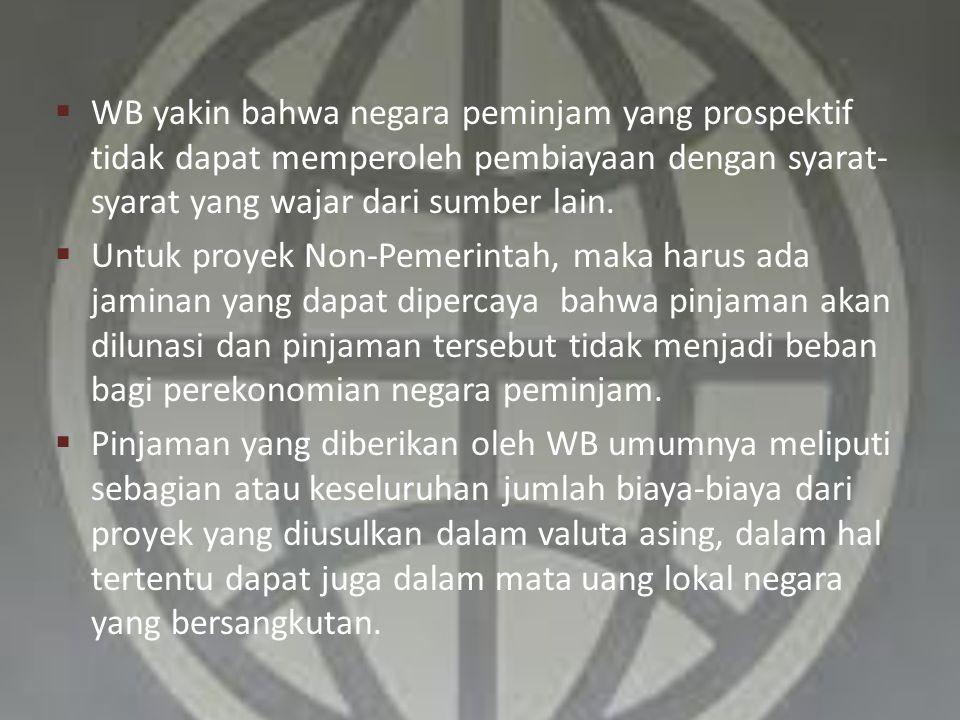 WB yakin bahwa negara peminjam yang prospektif tidak dapat memperoleh pembiayaan dengan syarat-syarat yang wajar dari sumber lain.