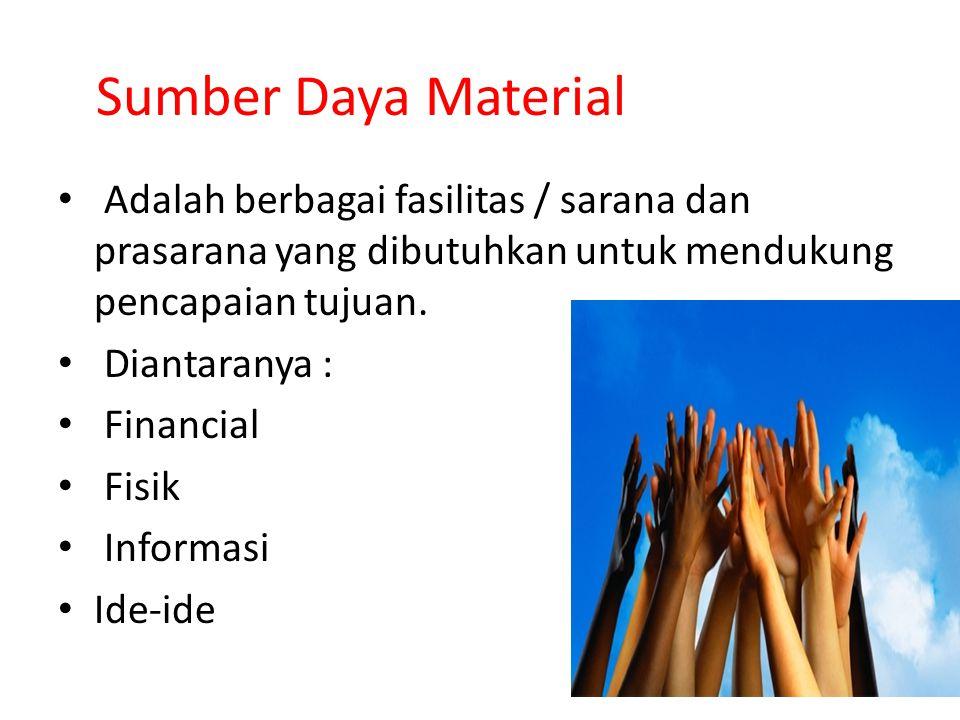 Sumber Daya Material Adalah berbagai fasilitas / sarana dan prasarana yang dibutuhkan untuk mendukung pencapaian tujuan.