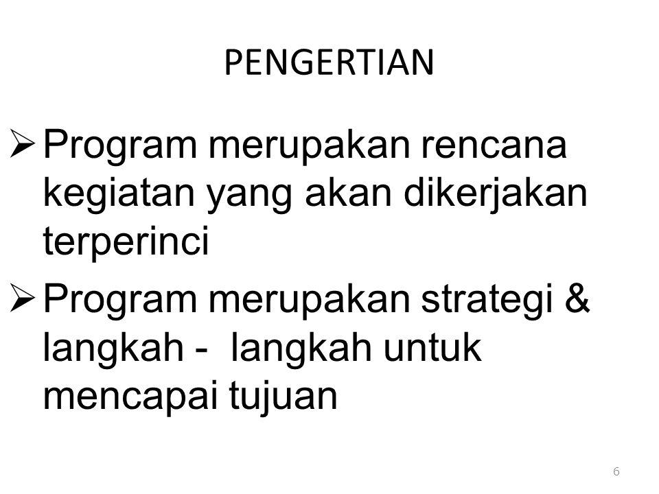 PENGERTIAN Program merupakan rencana kegiatan yang akan dikerjakan terperinci.