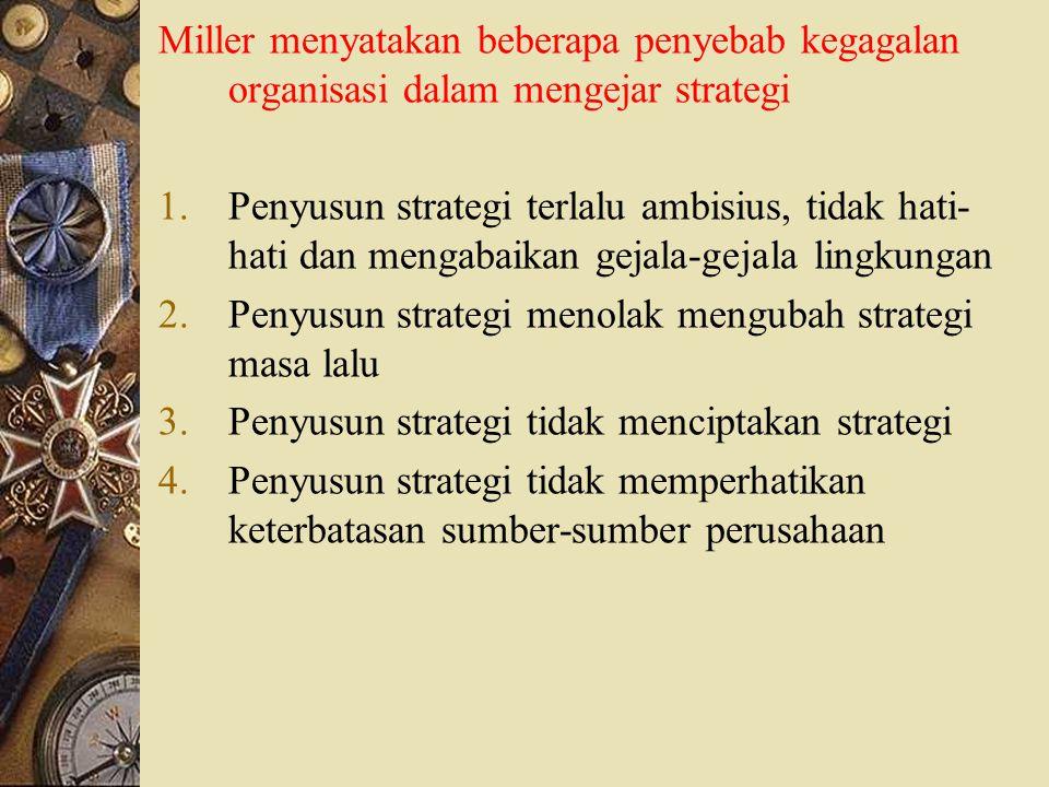Miller menyatakan beberapa penyebab kegagalan organisasi dalam mengejar strategi