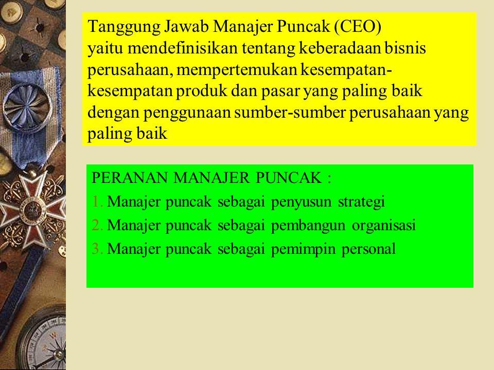 Tanggung Jawab Manajer Puncak (CEO) yaitu mendefinisikan tentang keberadaan bisnis perusahaan, mempertemukan kesempatan-kesempatan produk dan pasar yang paling baik dengan penggunaan sumber-sumber perusahaan yang paling baik