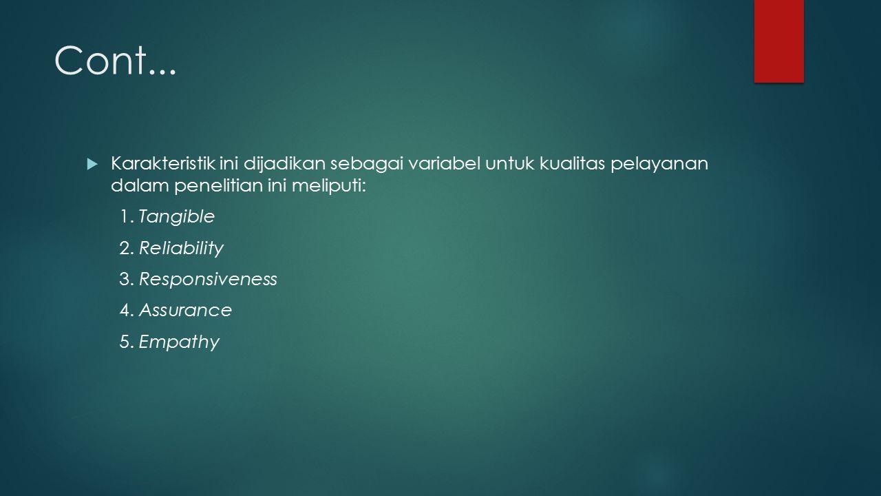 Cont... Karakteristik ini dijadikan sebagai variabel untuk kualitas pelayanan dalam penelitian ini meliputi: