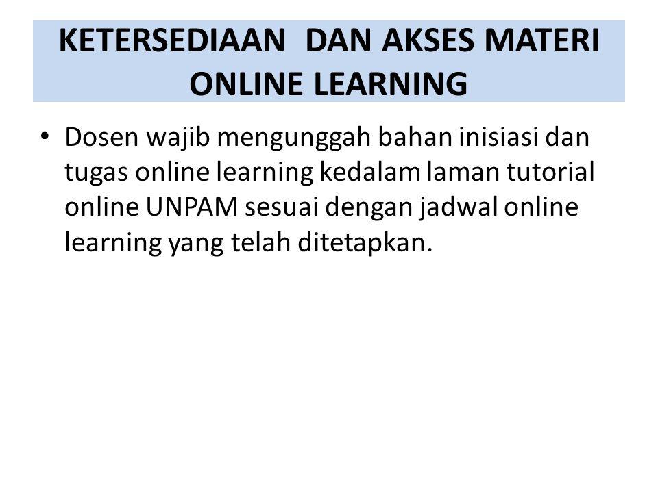 KETERSEDIAAN DAN AKSES MATERI ONLINE LEARNING