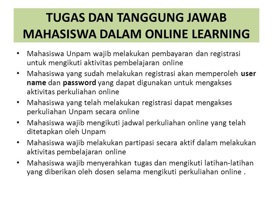TUGAS DAN TANGGUNG JAWAB MAHASISWA DALAM ONLINE LEARNING