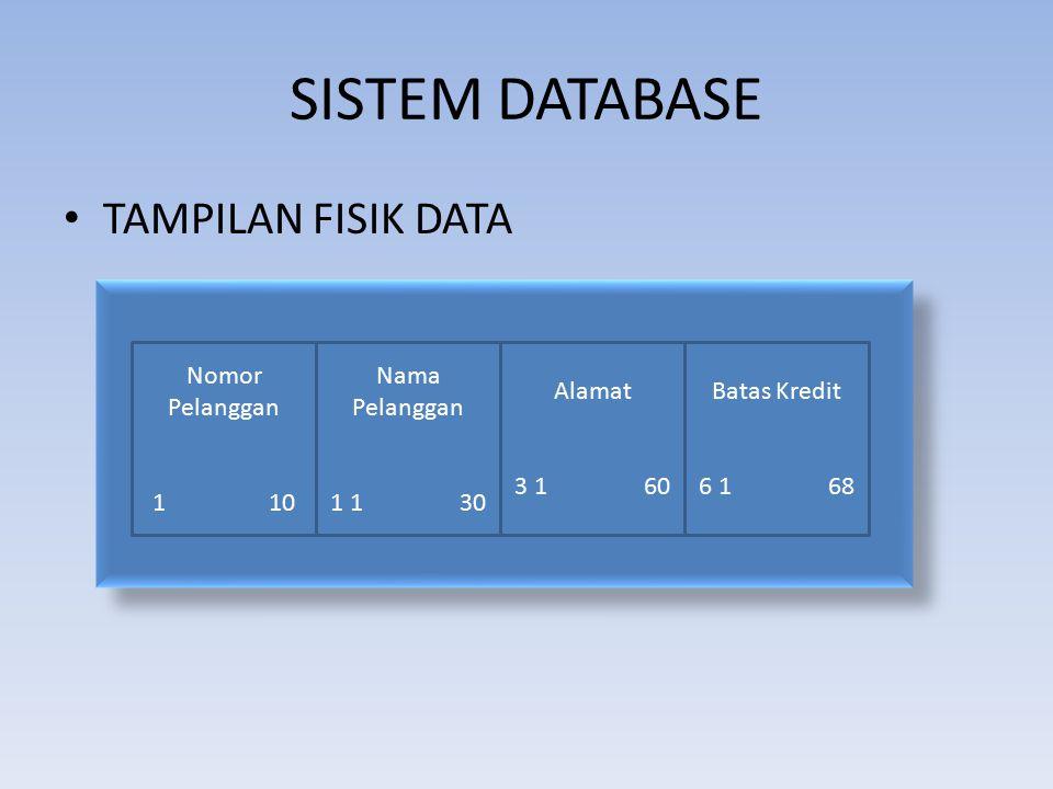 SISTEM DATABASE TAMPILAN FISIK DATA Nomor Pelanggan 1 10 Nama