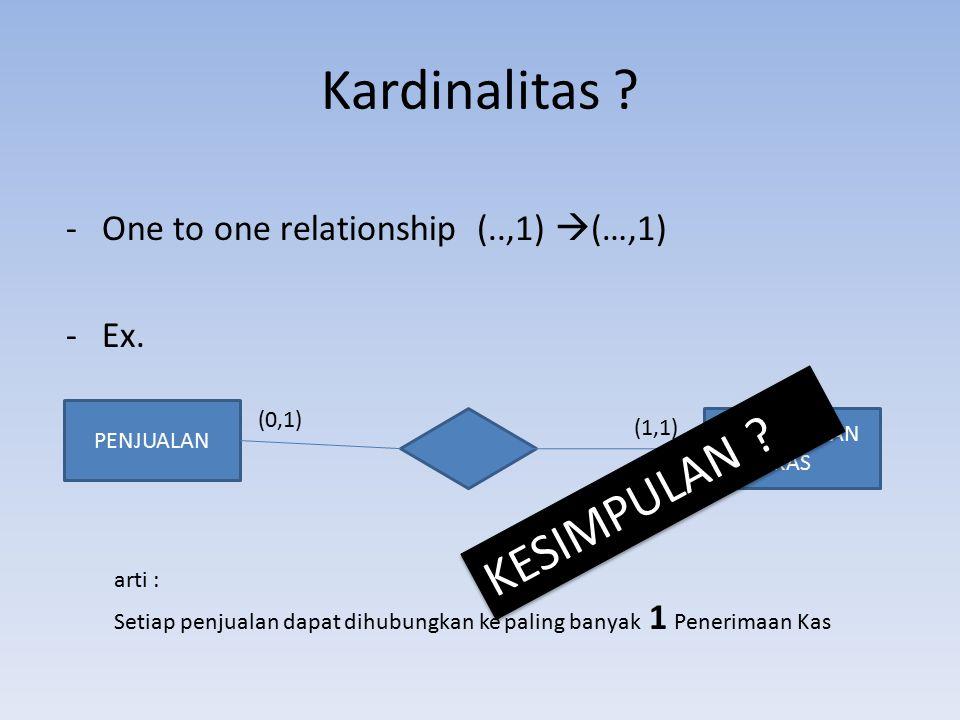 Kardinalitas KESIMPULAN One to one relationship (..,1) (…,1) Ex.