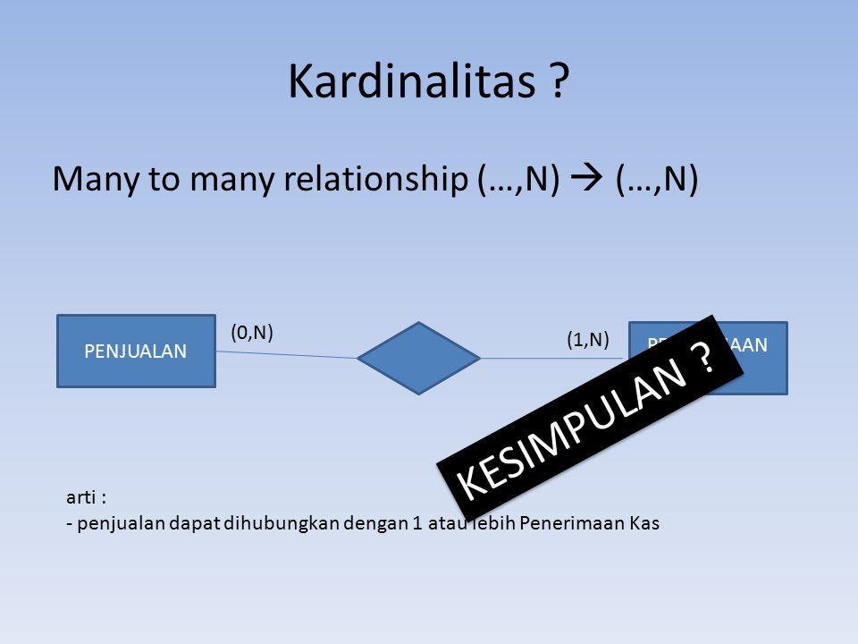 Kardinalitas KESIMPULAN Many to many relationship (…,N)  (…,N)
