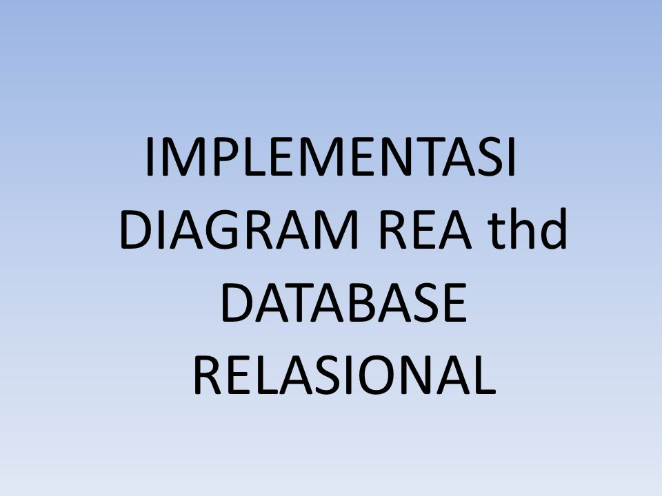 IMPLEMENTASI DIAGRAM REA thd DATABASE RELASIONAL