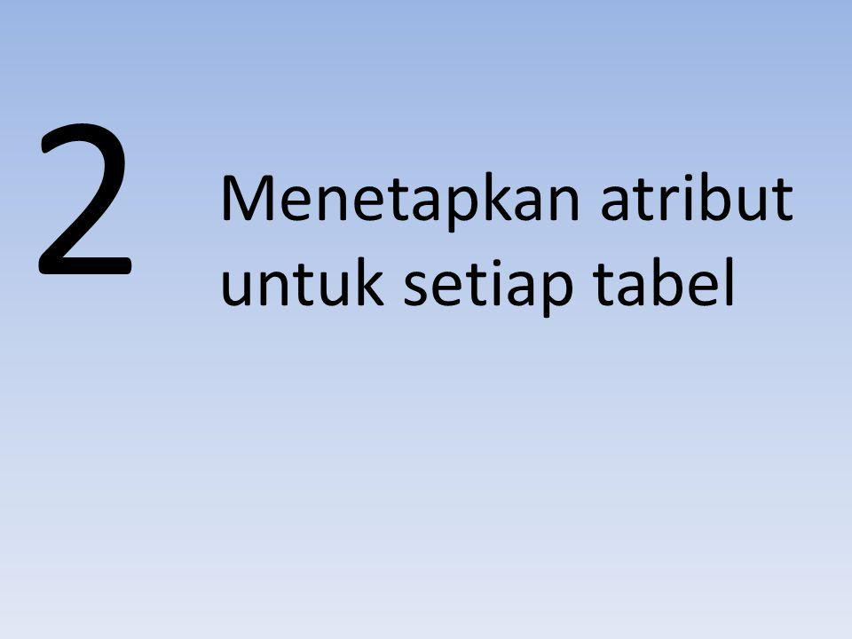 2 Menetapkan atribut untuk setiap tabel