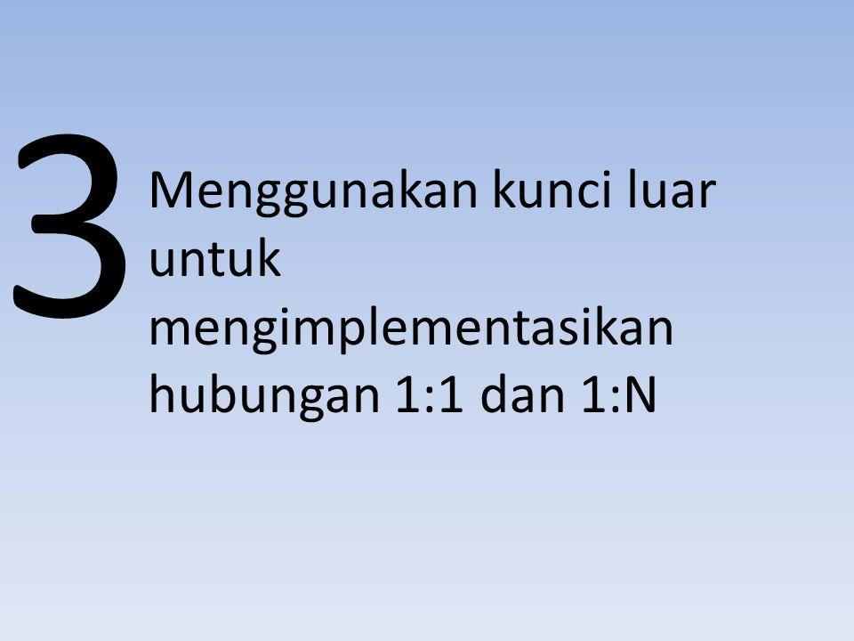 Menggunakan kunci luar untuk mengimplementasikan hubungan 1:1 dan 1:N