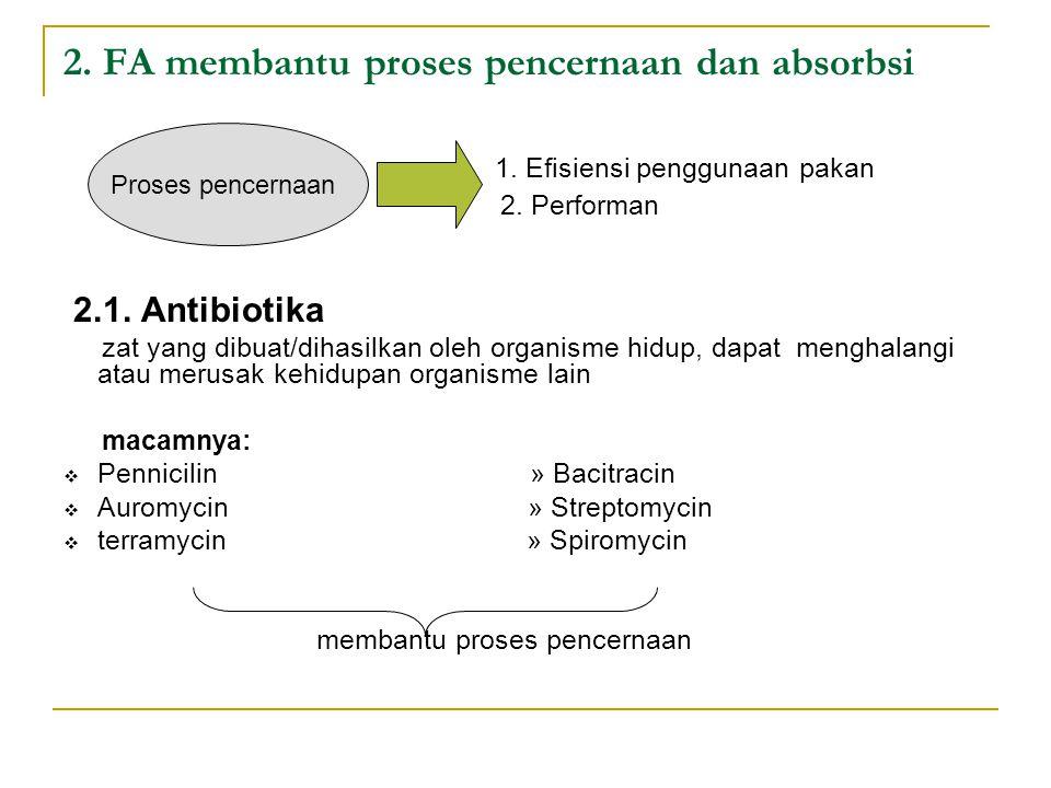 2. FA membantu proses pencernaan dan absorbsi