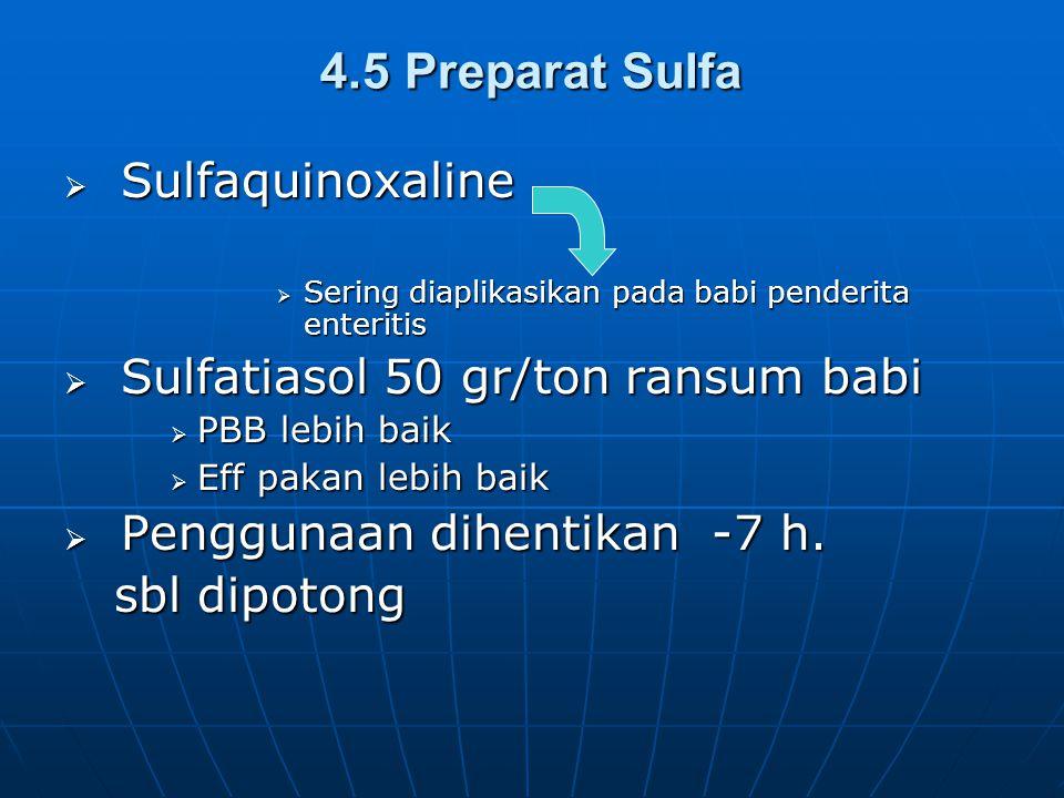 4.5 Preparat Sulfa Sulfaquinoxaline Sulfatiasol 50 gr/ton ransum babi