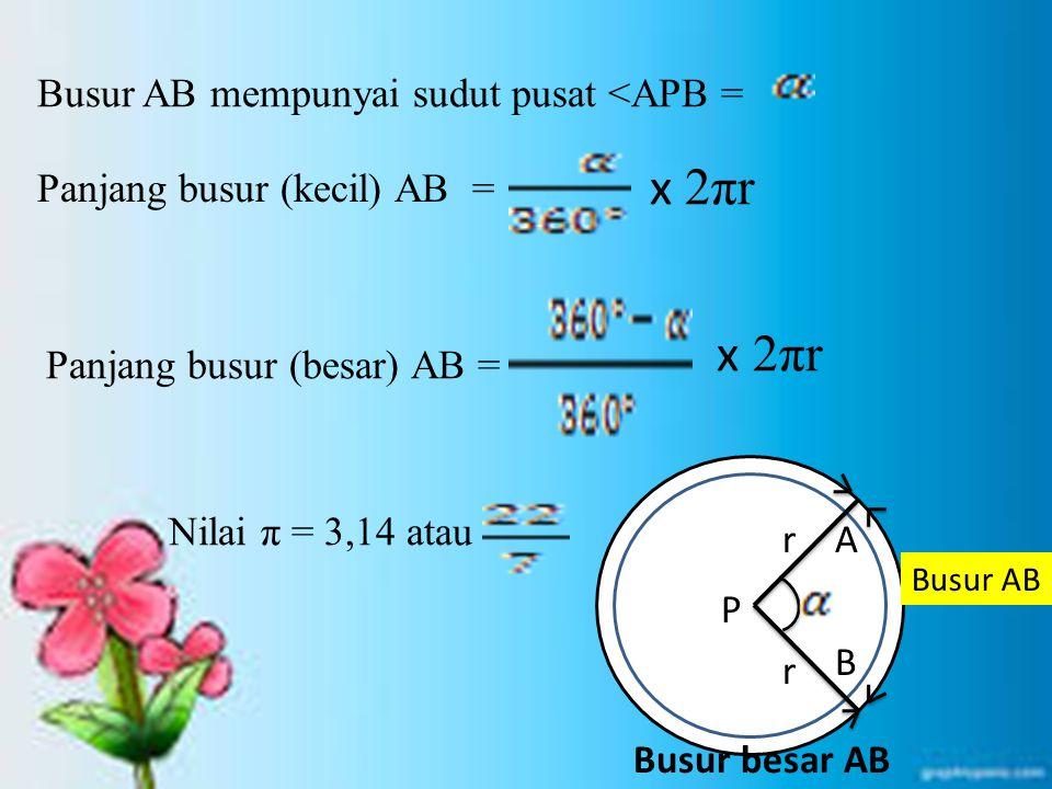 x 2πr Busur AB mempunyai sudut pusat <APB =