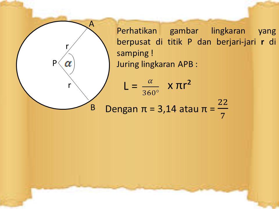 A r. Perhatikan gambar lingkaran yang berpusat di titik P dan berjari-jari r di samping ! Juring lingkaran APB :