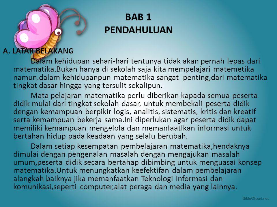 BAB 1 PENDAHULUAN A. LATAR BELAKANG
