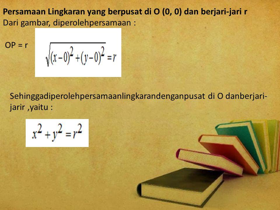 Persamaan Lingkaran yang berpusat di O (0, 0) dan berjari-jari r Dari gambar, diperolehpersamaan : OP = r