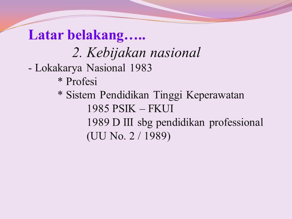 Latar belakang….. 2. Kebijakan nasional Lokakarya Nasional 1983