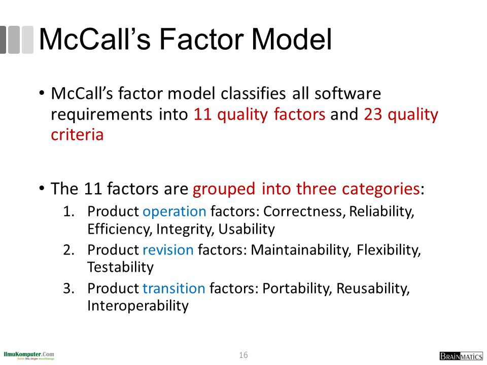 McCall's Factor Model McCall's factor model classifies all software requirements into 11 quality factors and 23 quality criteria.