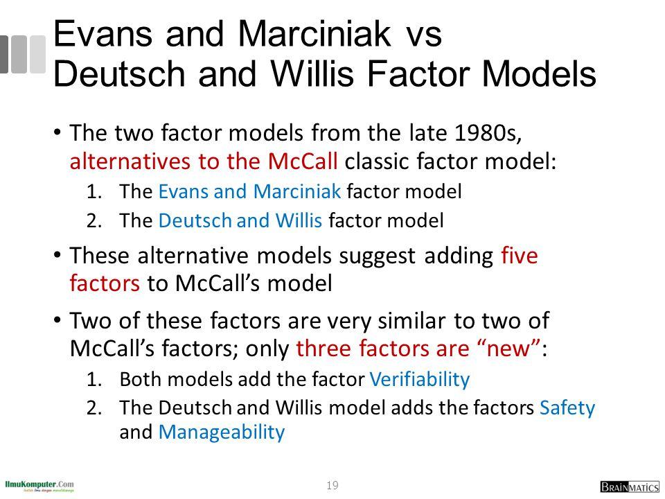 Evans and Marciniak vs Deutsch and Willis Factor Models