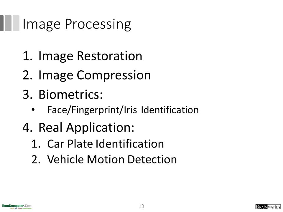 Image Processing Image Restoration Image Compression Biometrics: