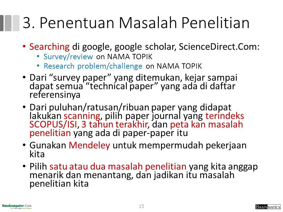 3. Penentuan Masalah Penelitian