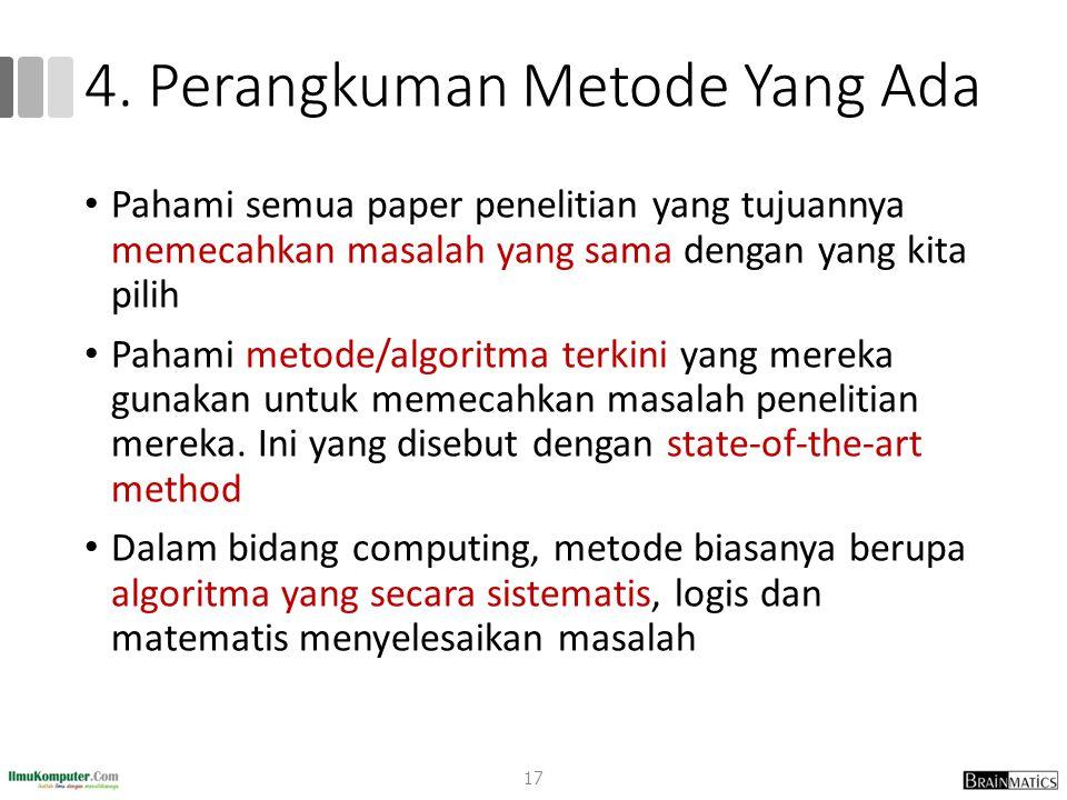 4. Perangkuman Metode Yang Ada
