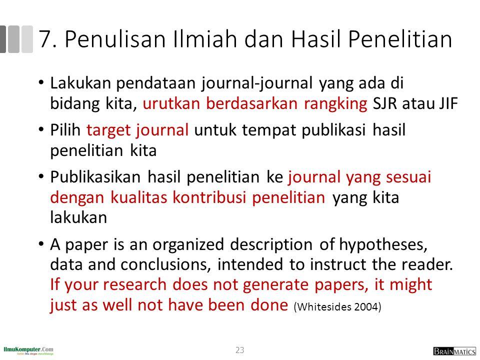 7. Penulisan Ilmiah dan Hasil Penelitian