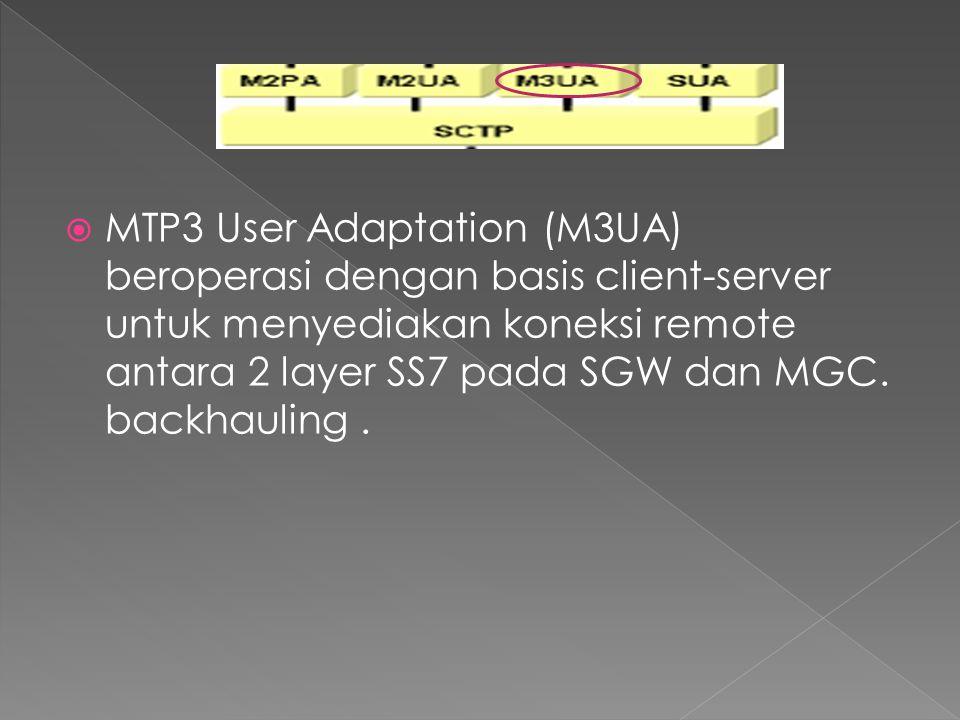 MTP3 User Adaptation (M3UA) beroperasi dengan basis client-server untuk menyediakan koneksi remote antara 2 layer SS7 pada SGW dan MGC.