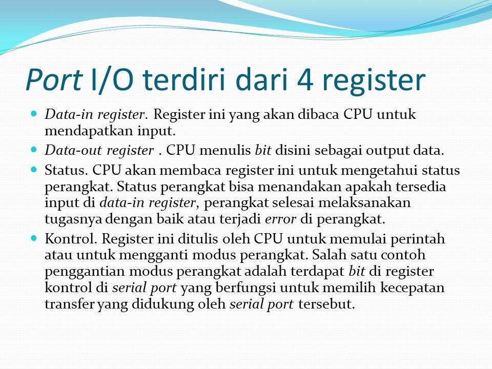 Port I/O terdiri dari 4 register