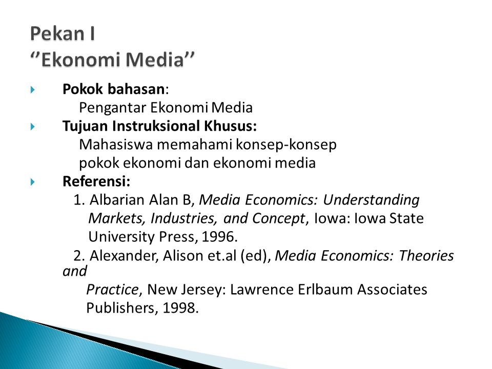 Pekan I ''Ekonomi Media''