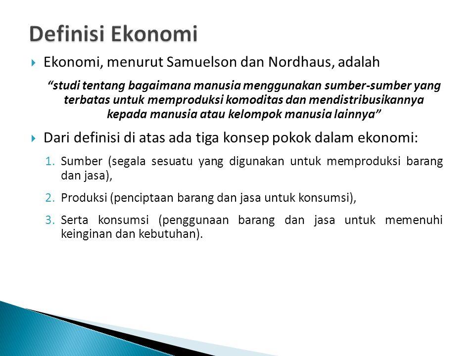 Definisi Ekonomi Ekonomi, menurut Samuelson dan Nordhaus, adalah