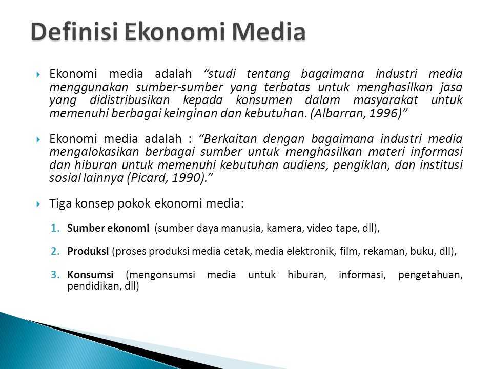 Definisi Ekonomi Media