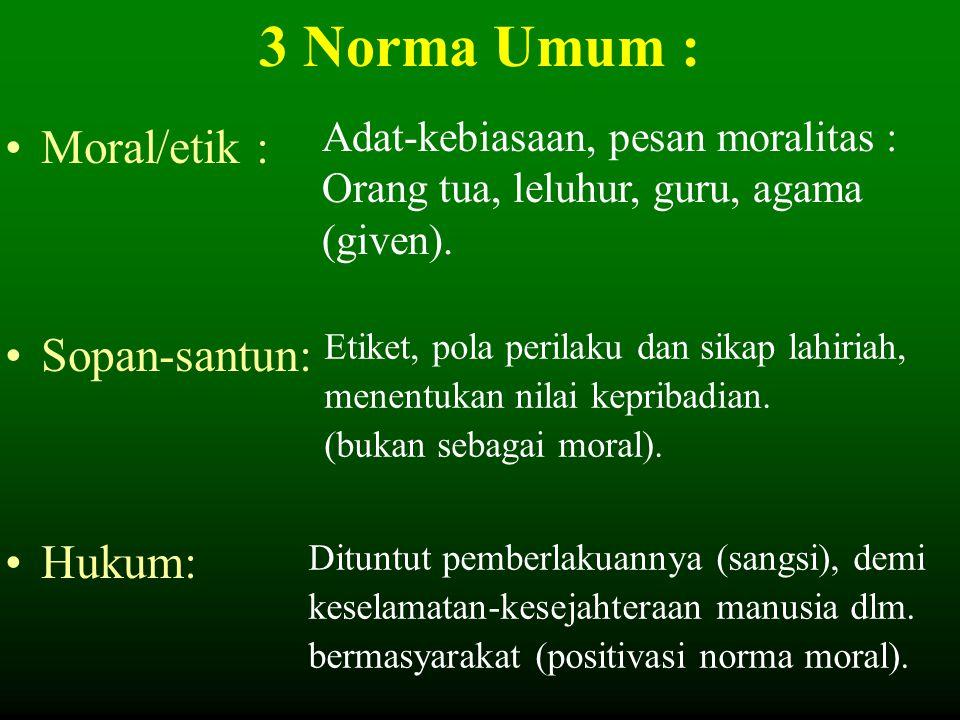 3 Norma Umum : Moral/etik : Sopan-santun: Hukum: