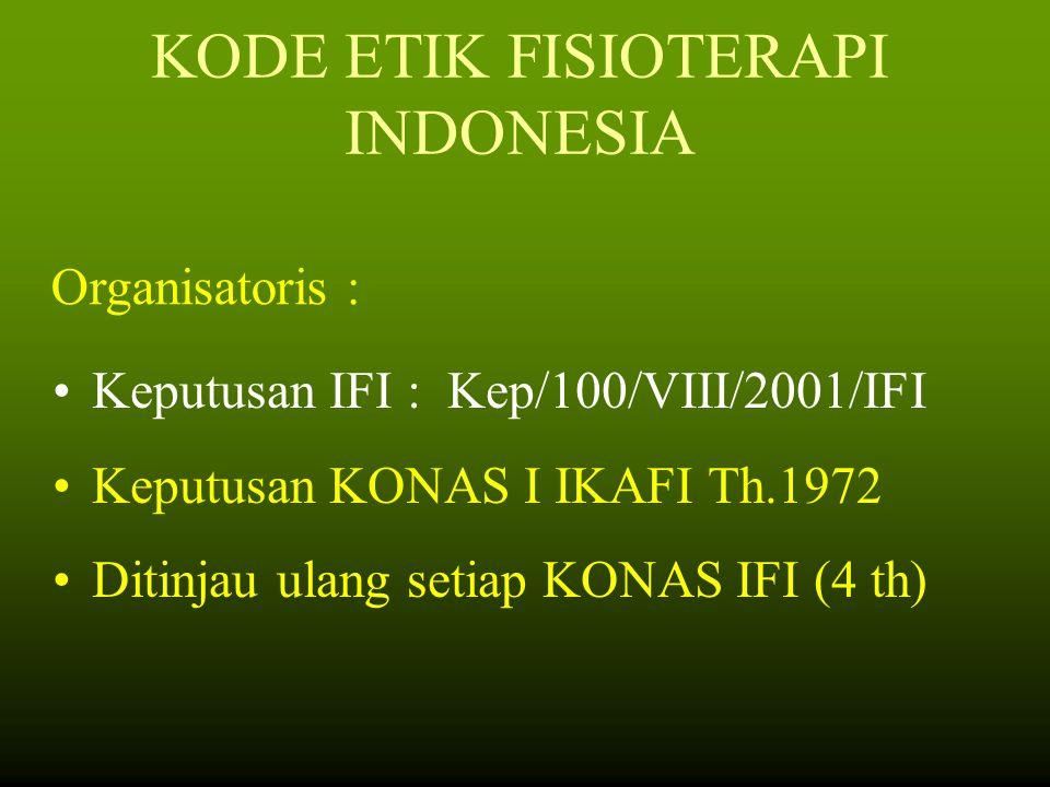 KODE ETIK FISIOTERAPI INDONESIA