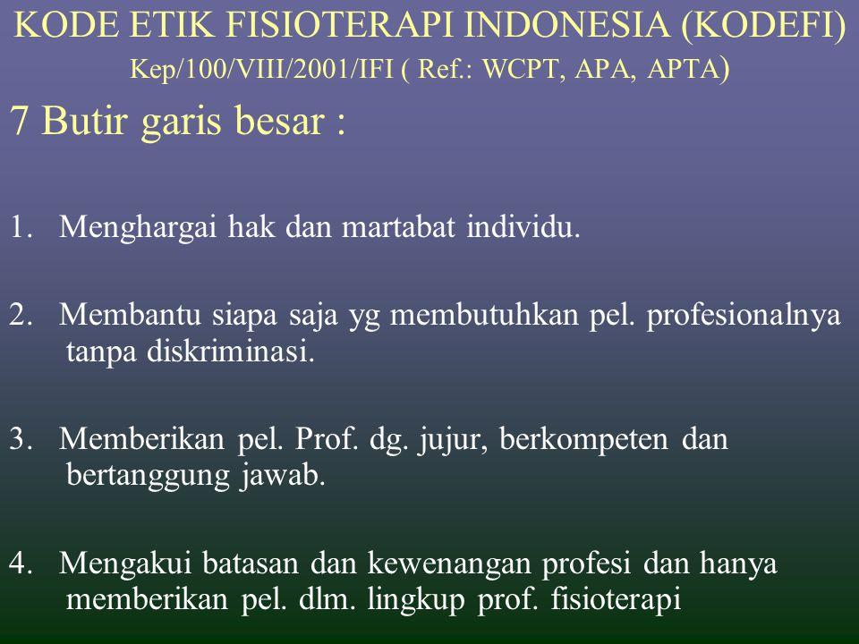KODE ETIK FISIOTERAPI INDONESIA (KODEFI) Kep/100/VIII/2001/IFI ( Ref