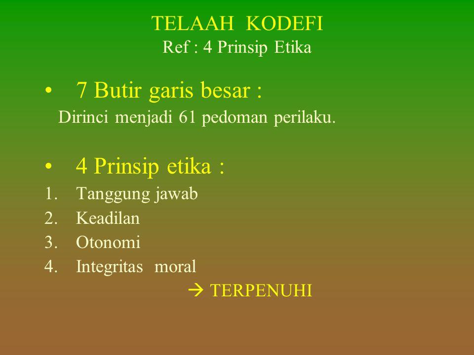 TELAAH KODEFI Ref : 4 Prinsip Etika