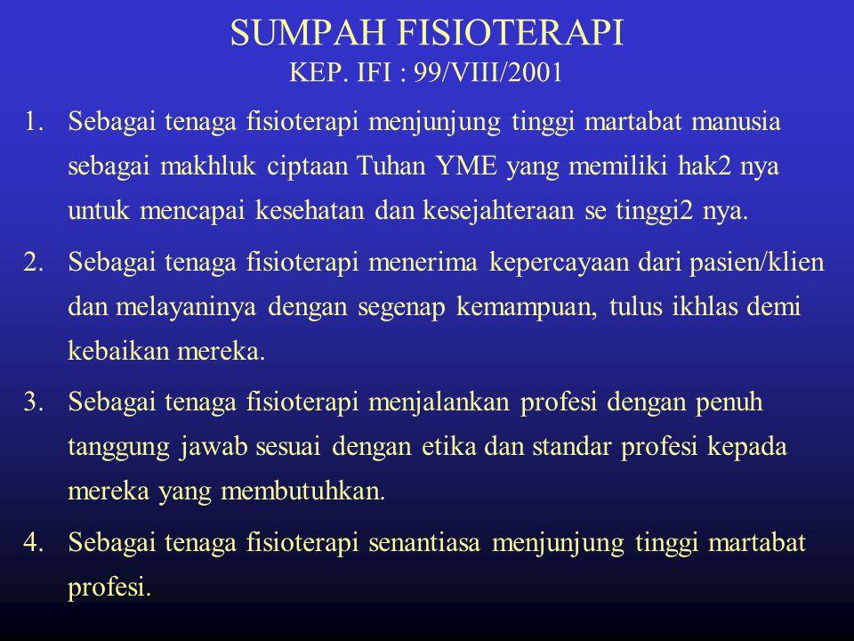SUMPAH FISIOTERAPI KEP. IFI : 99/VIII/2001