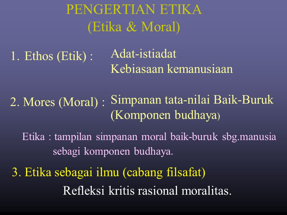 PENGERTIAN ETIKA (Etika & Moral)