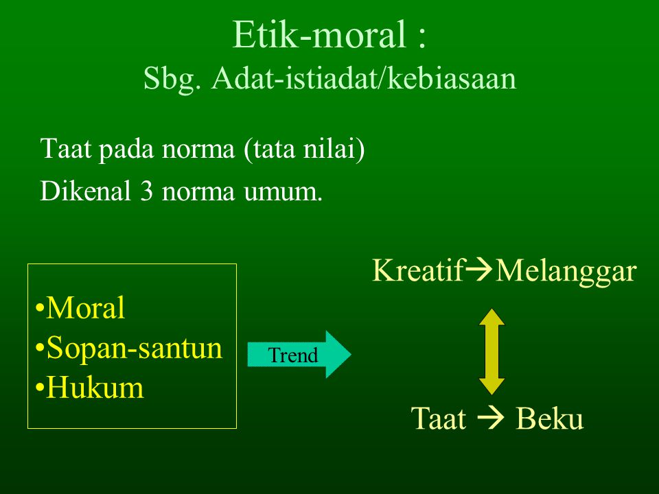 Etik-moral : Sbg. Adat-istiadat/kebiasaan