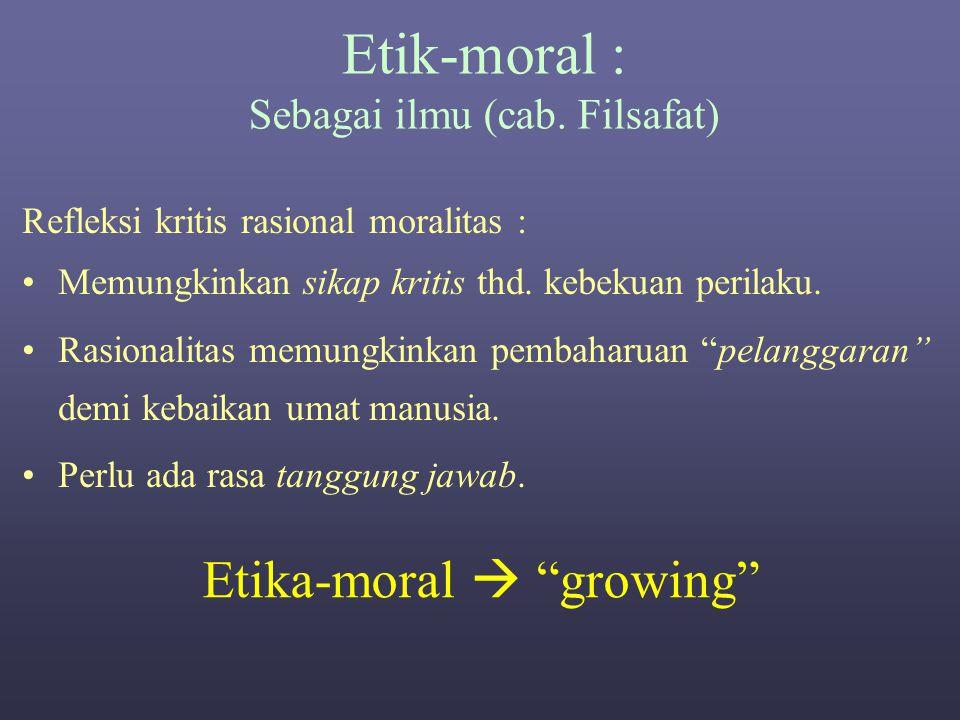 Etik-moral : Sebagai ilmu (cab. Filsafat)