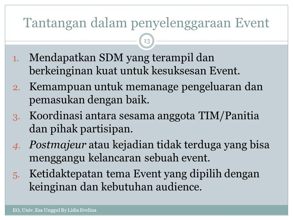 Tantangan dalam penyelenggaraan Event